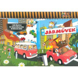 Járművek +500matrica + 10 dekorálható kép  + 10 kifestő oldal