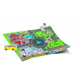 Óriás városkám - Munkában a tűzoltók    68x48 cm - es kiteríthető játszótérképpel