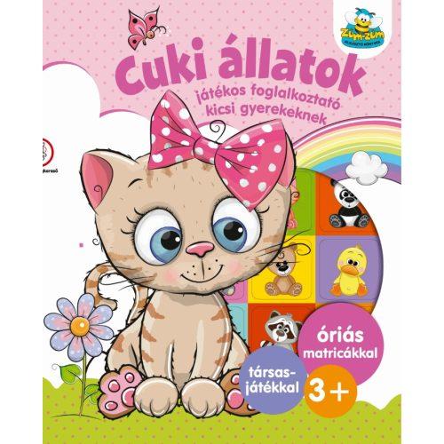 Cuki állatok - Játékos foglalkoztató kicsi gyerekeknek   -  Óriás matricákkal    plusz társasjátékkal   3+