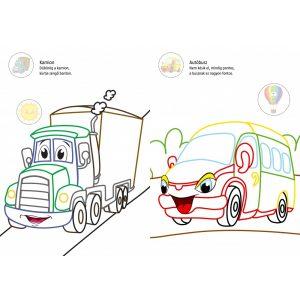 Színes járművek - színes vonalkás kifestő nagy matricákkal